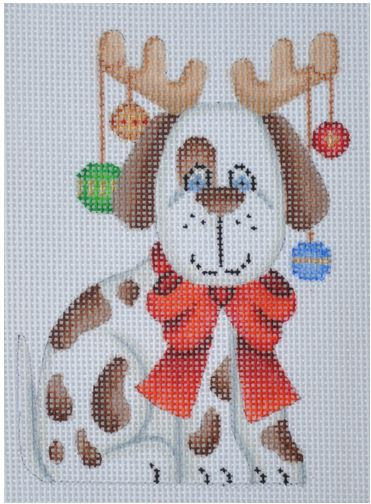 click here to view larger image of Dog with Reindeer Antlers (hand painted canvases)