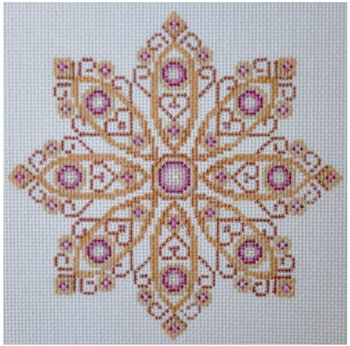 click here to view larger image of Gold and Pink Jeweled Snowflake (hand painted canvases)