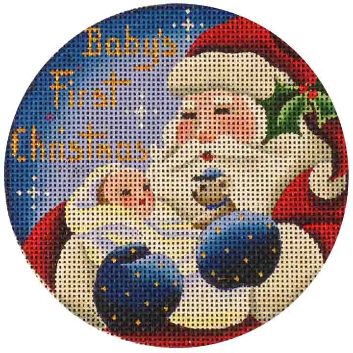 click here to view larger image of Babies First Christmas - Boy (hand painted canvases)