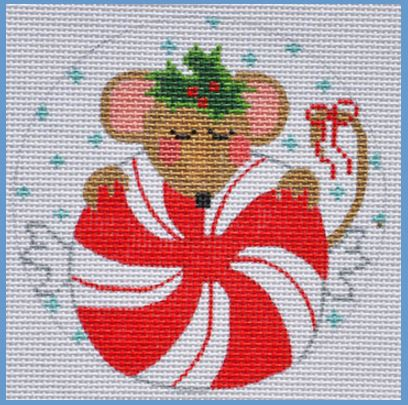 click here to view larger image of Peppermint Mouse Ornament (hand painted canvases)