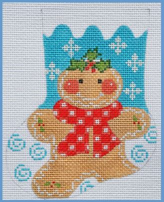 click here to view larger image of Gingerbread Girl Mini Stocking (hand painted canvases)