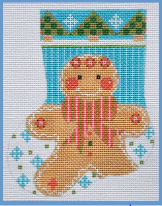 click here to view larger image of Gingerbread Boy Mini Stocking (hand painted canvases)