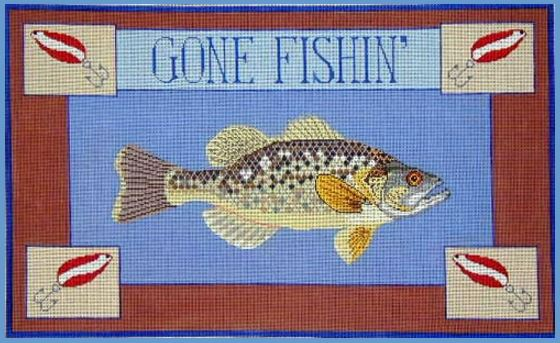 click here to view larger image of Gone Fishing Bass (hand painted canvases)