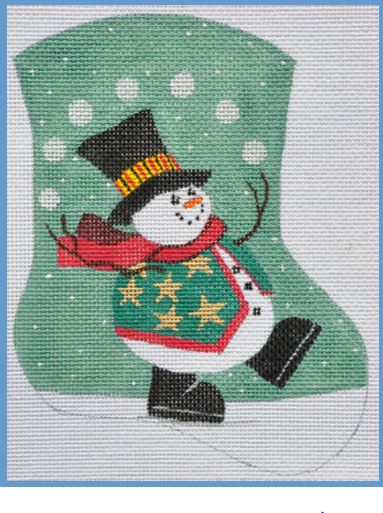 click here to view larger image of Juggling Snowman Mini Sock (hand painted canvases)