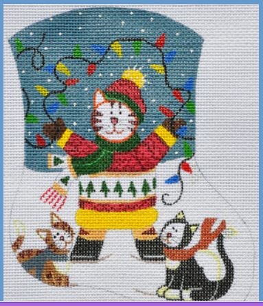 click here to view larger image of Cats with Lights Mini Sock (hand painted canvases)