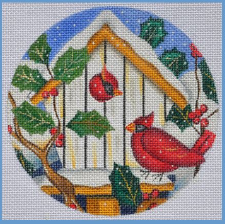 click here to view larger image of Cardinal Bird House Ornament (hand painted canvases)