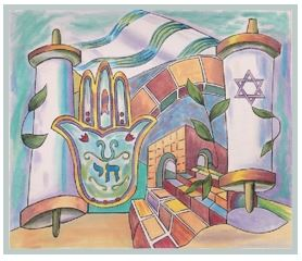 click here to view larger image of Torah Scroll Tallis Bag (hand painted canvases)