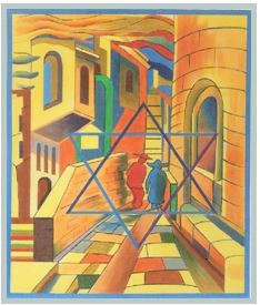 click here to view larger image of Jerusalem Street (hand painted canvases)