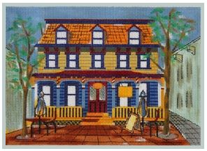 click here to view larger image of Pie Lady Colonial Home (hand painted canvases)