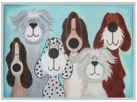 click here to view larger image of 6 Whimsical Pups (hand painted canvases)