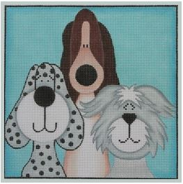 click here to view larger image of 3 Short Pups (hand painted canvases)