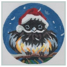 click here to view larger image of Chickadee in a Santa Hat (hand painted canvases)