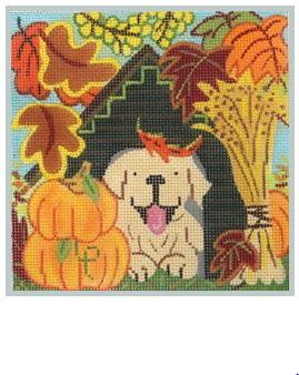 click here to view larger image of Puppy Seasons - Fall (hand painted canvases)