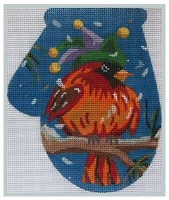 click here to view larger image of Cardinal in Carnival Hat Mit (hand painted canvases)