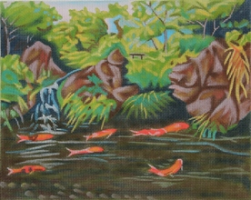 click here to view larger image of Koi Pond (hand painted canvases)