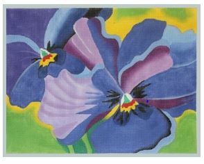 click here to view larger image of Pansies Blue (hand painted canvases)