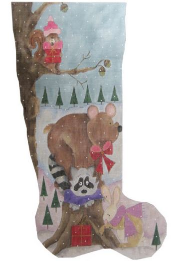 click here to view larger image of Squirrel, Bear, Raccoon and Bunny Stocking (hand painted canvases)