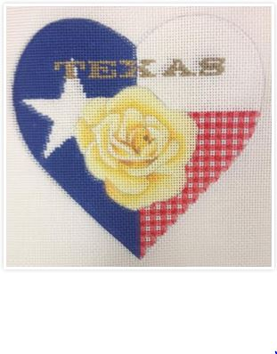 click here to view larger image of Texas Rose Heart (hand painted canvases)