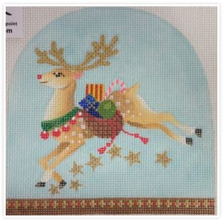 click here to view larger image of Christmas Snowdome - Prancer (hand painted canvases)
