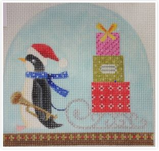 click here to view larger image of Christmas Snowdome - Penguin with Sleigh (hand painted canvases)