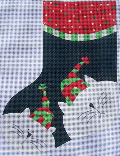 click here to view larger image of Cat Stocking (hand painted canvases)
