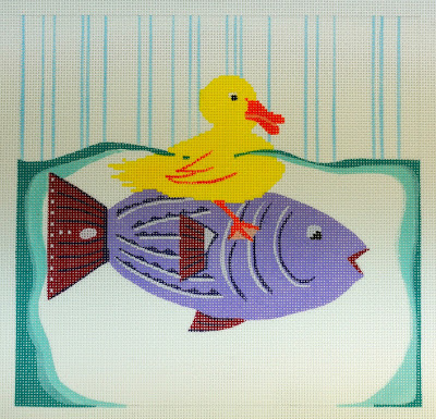 click here to view larger image of Duck On A Fish (hand painted canvases)