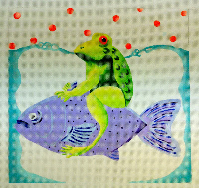 click here to view larger image of Frog On A Fish (hand painted canvases)