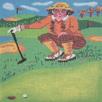 click here to view larger image of Putting For Birdie (hand painted canvases)