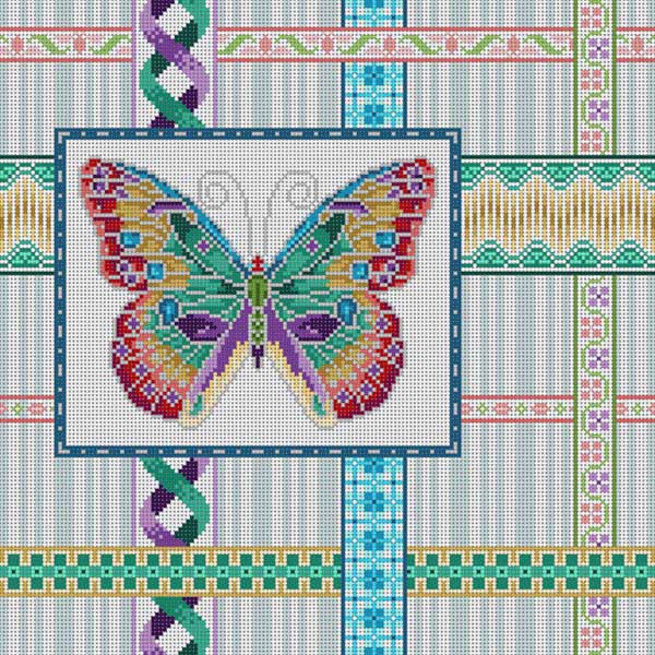 click here to view larger image of Butterfly and Ribbons (hand painted canvases)