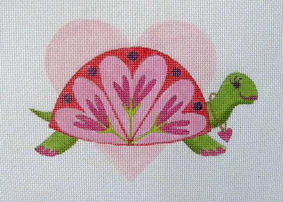 click here to view larger image of February - Valentines Turtle (hand painted canvases)