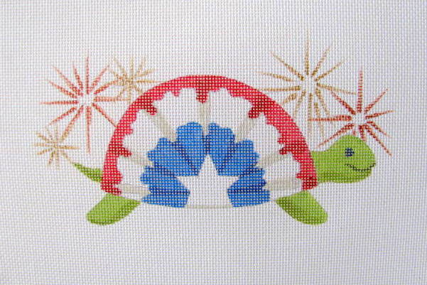 click here to view larger image of July - Bunting Turtle (hand painted canvases)
