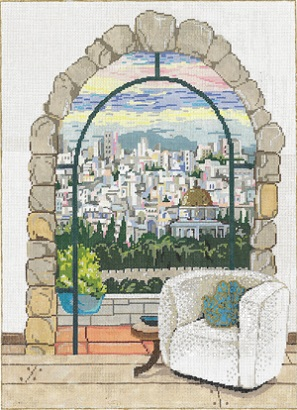 click here to view larger image of Jerusalem Window (hand painted canvases)