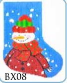 click here to view larger image of Dot Scarf Snowman Mini Stocking (hand painted canvases)