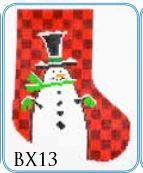 click here to view larger image of Check Snowman Mini Stocking (hand painted canvases)