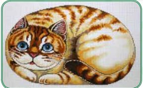click here to view larger image of Cat Pillow (hand painted canvases)