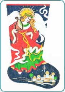 click here to view larger image of Christmas Angel Stocking (hand painted canvases)