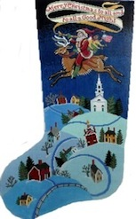 click here to view larger image of Merry Christmas To All Stocking (hand painted canvases)