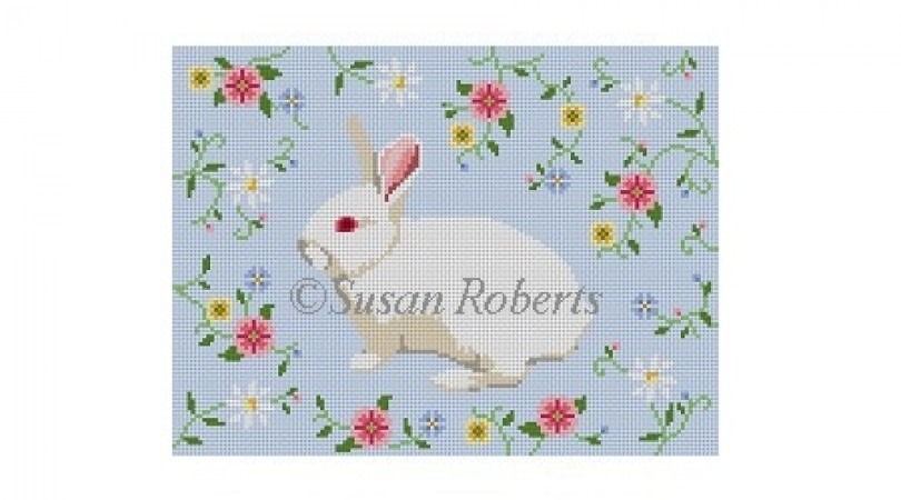click here to view larger image of Bunny In Flower Vine (hand painted canvases)