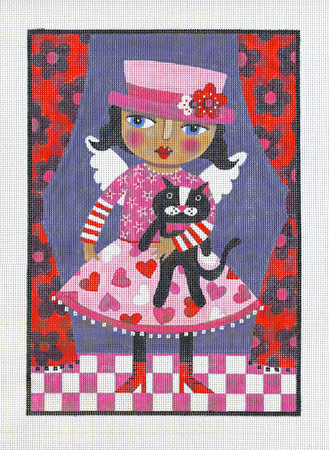 click here to view larger image of Angel With Pink Hat and Black Cat (hand painted canvases)