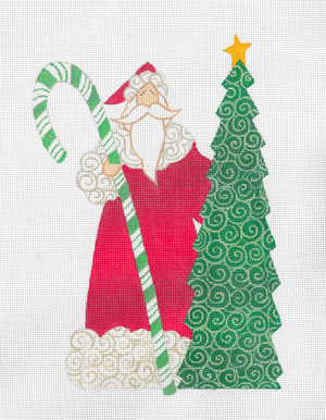 click here to view larger image of Candy Cane Santa, The (hand painted canvases)