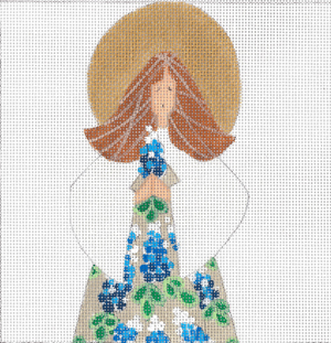 click here to view larger image of Blue Bonnet Angel Square (hand painted canvases)