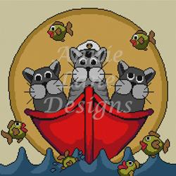 click here to view larger image of Cats In The Dinghy (hand painted canvases)