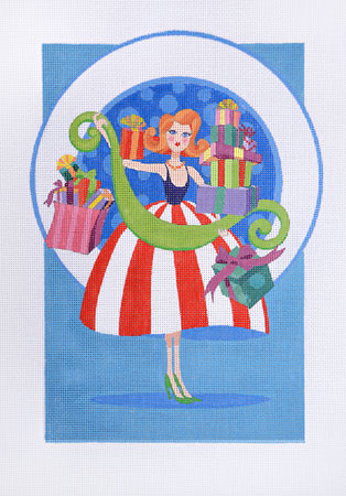 click here to view larger image of Holiday Shopper Stripe Dress (hand painted canvases)