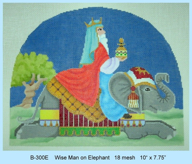 click here to view larger image of Wise Man On Elephant (hand painted canvases)