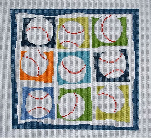 click here to view larger image of Nine Baseballs (hand painted canvases)