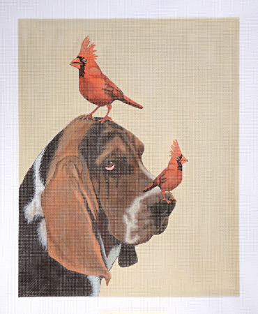 click here to view larger image of Basset Hound With Birds (hand painted canvases)