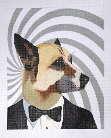 click here to view larger image of James Bond Dog (hand painted canvases)