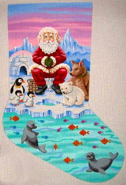 click here to view larger image of Ice Fishing Santa Stocking (hand painted canvases)