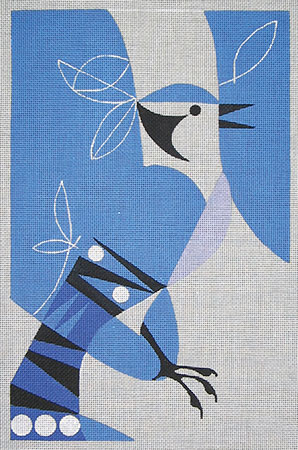 click here to view larger image of Snowbirds Bluejay (hand painted canvases)