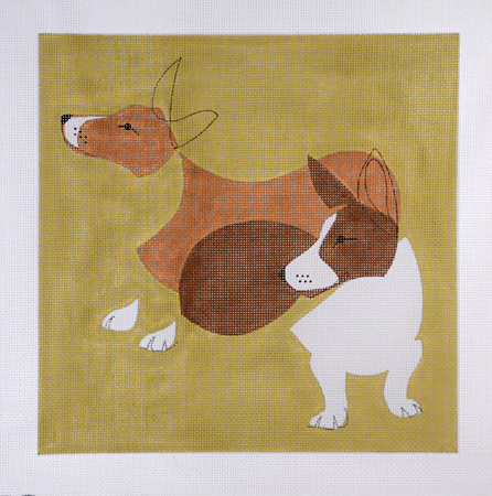 click here to view larger image of Mod Dog Corgis (hand painted canvases)